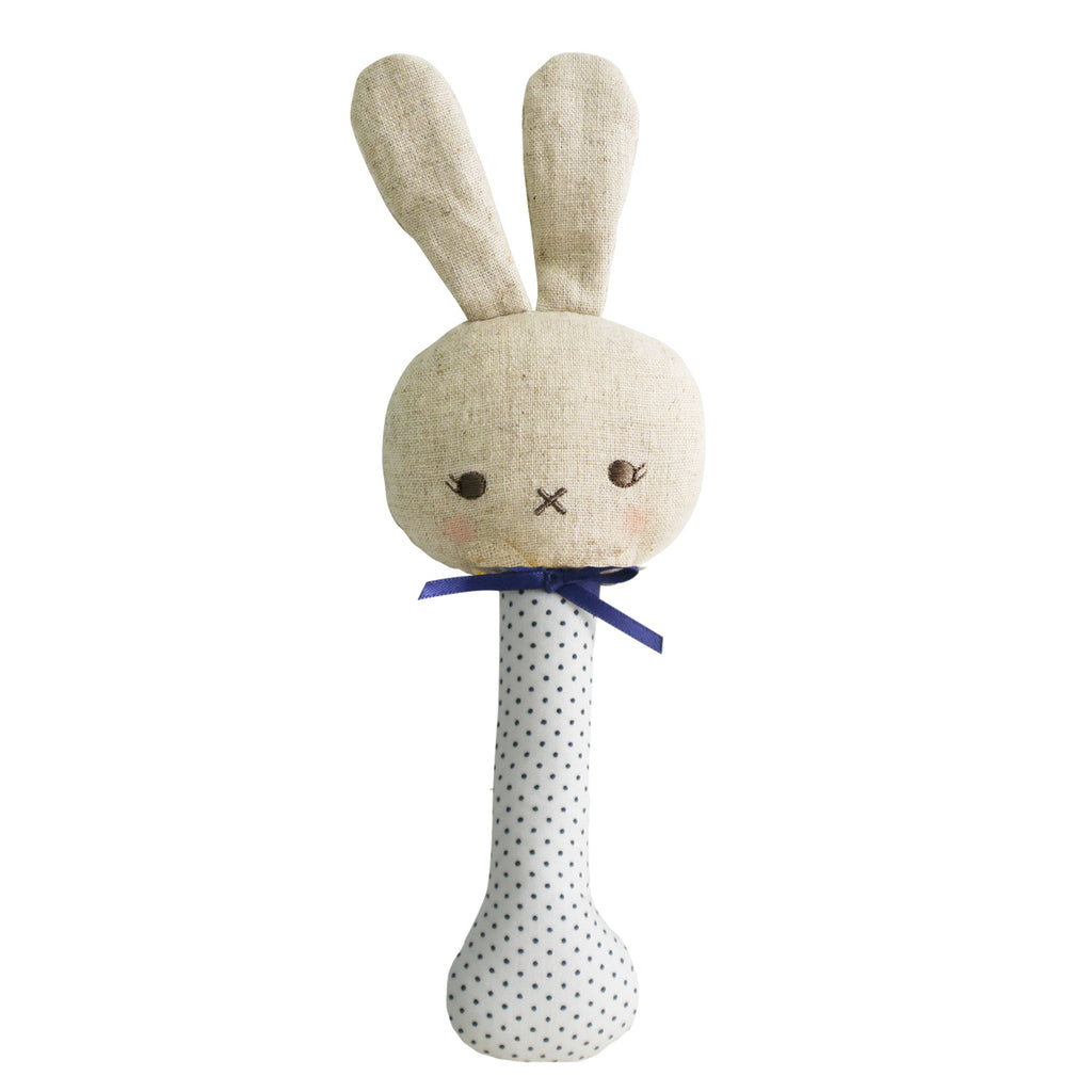 Baby Bunny Rattle - Ivory with Navy Spot