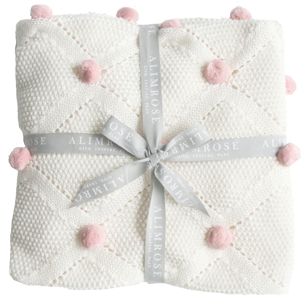 Pom Pom Blanket - Organic Cotton - White & Pink