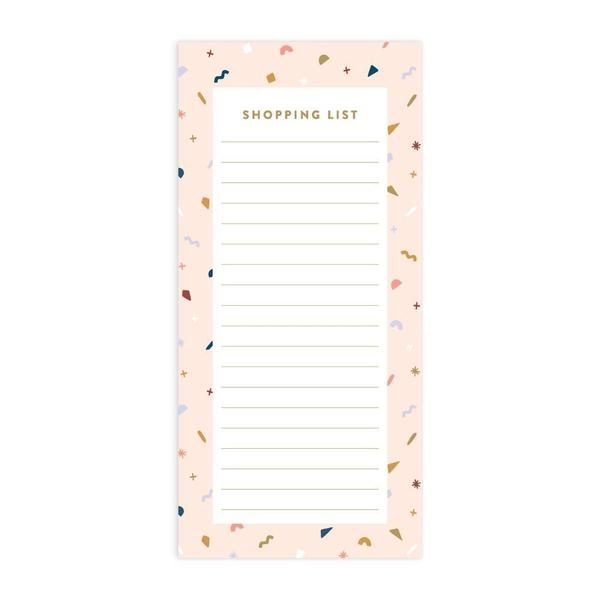Confetti DL Magnet Notepad - Shopping List