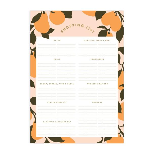Peaches A5 Magnet Notepad - Shopping List
