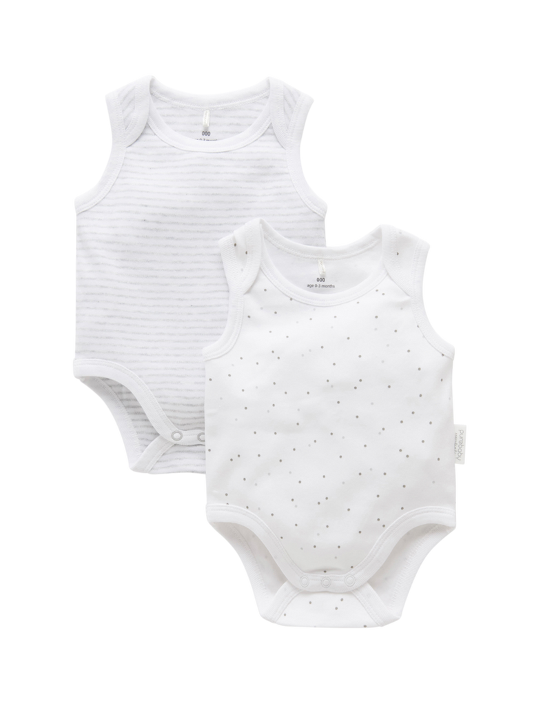 2 Pack Singlet Bodysuits - Grey
