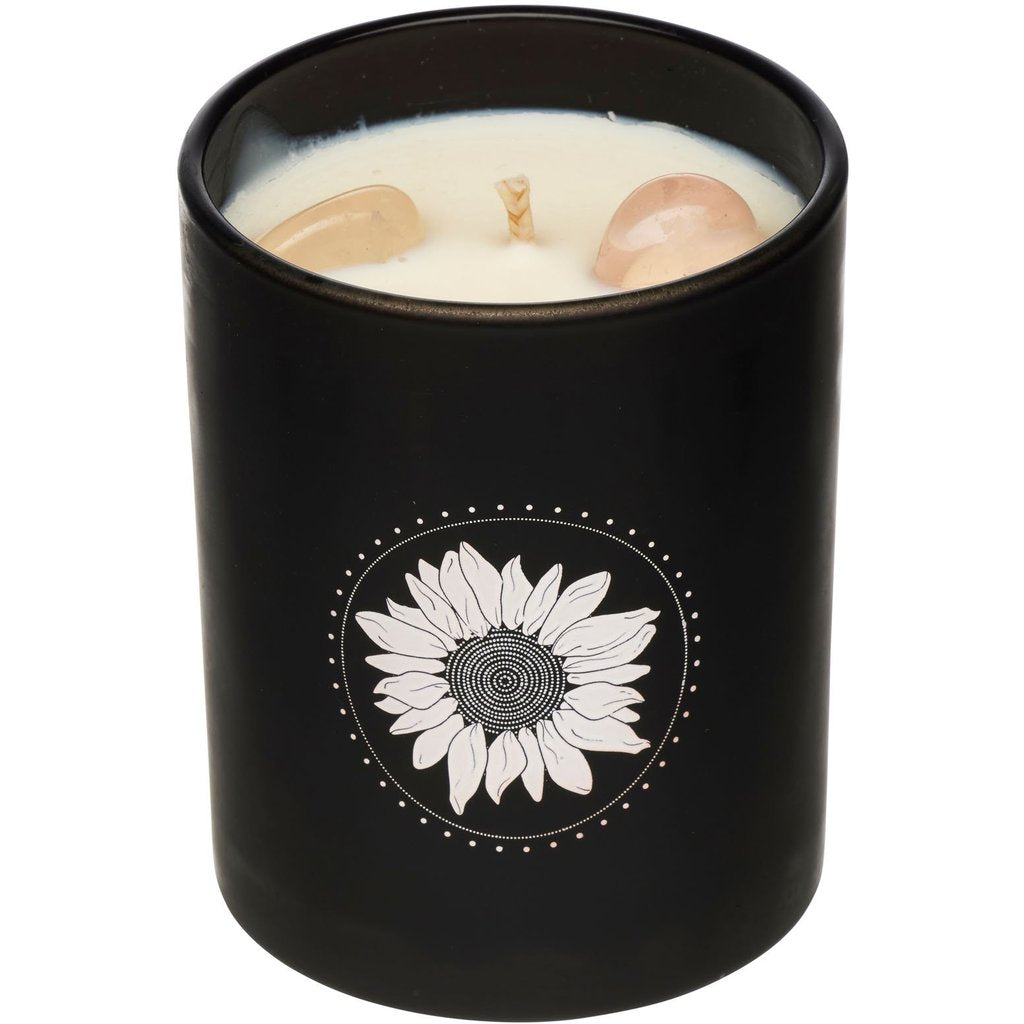 Crystal Infused Soy Candle - Rose Quartz - Salted Caramel - NEW