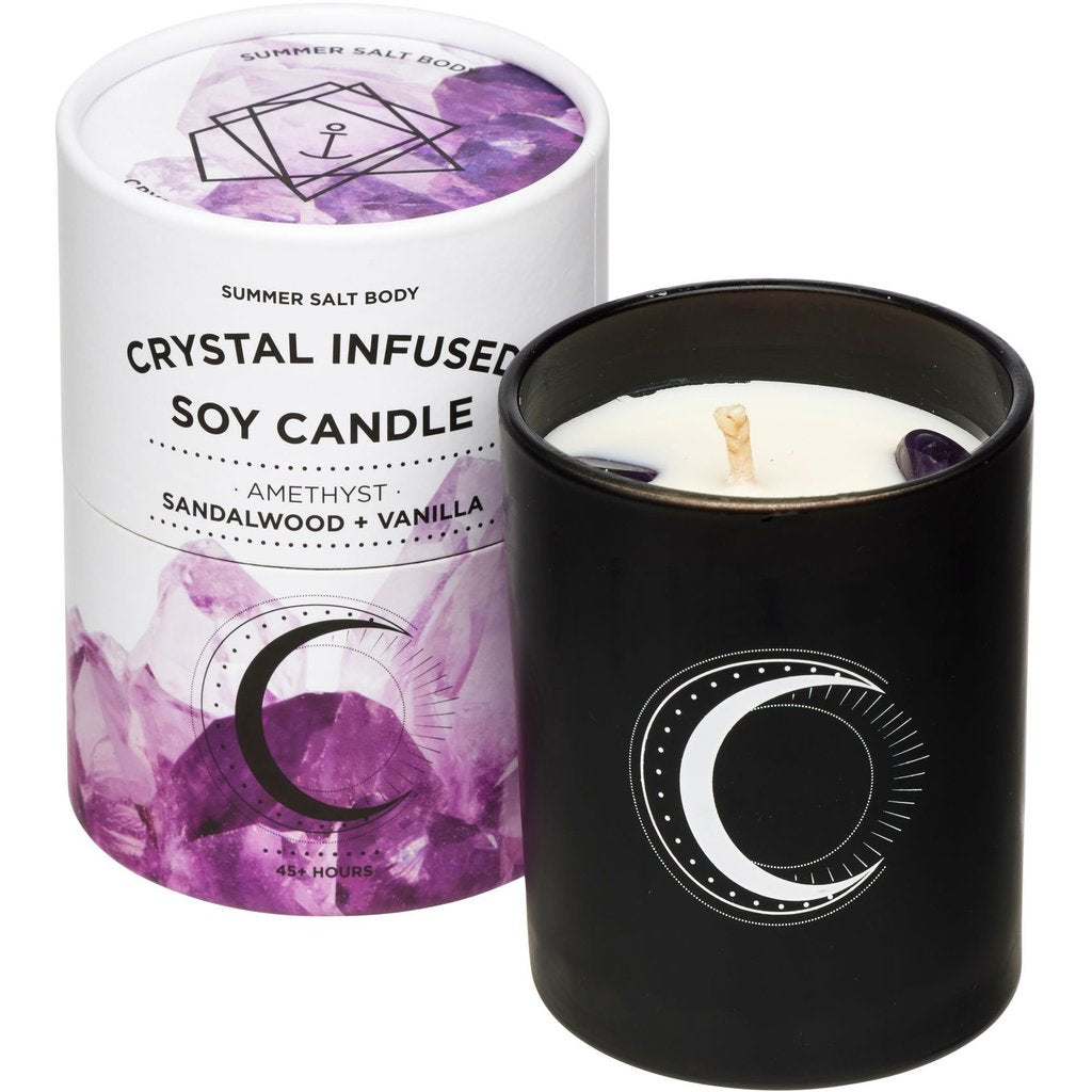 Crystal Infused Soy Candle - Amethyst - Sandalwood & Vanilla - NEW