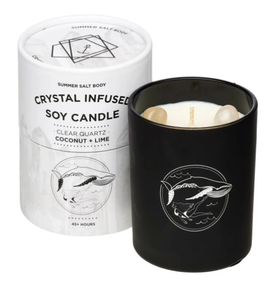Crystal Infused Soy Candle - Clear Quartz - Coconut & Lime - NEW