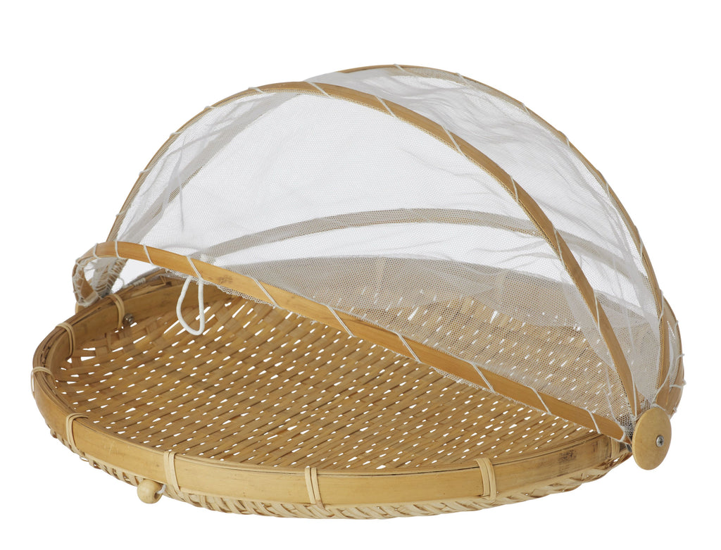 Collapsible Mesh Food Cover with Bamboo Tray - Small