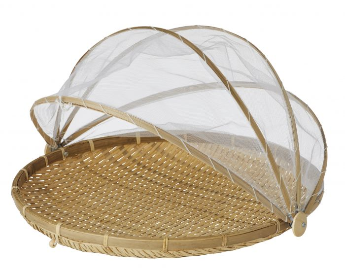 Collapsible Mesh Food Cover with Bamboo Tray - Large