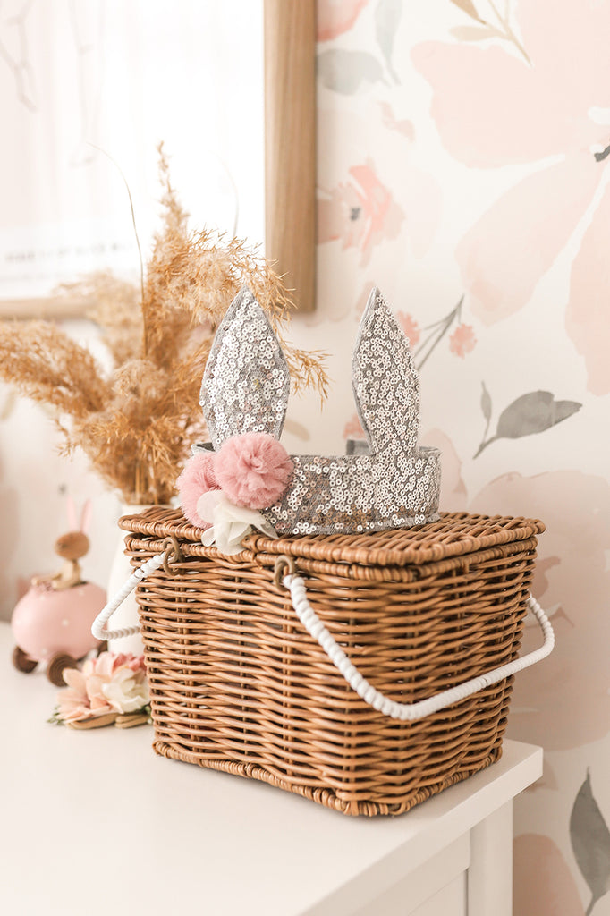 Sequin Bunny Crown - Silver