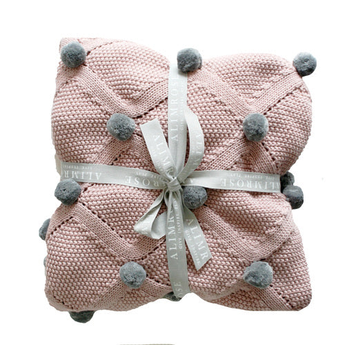 Pom Pom Blanket - Organic Cotton - Rosewater & Grey