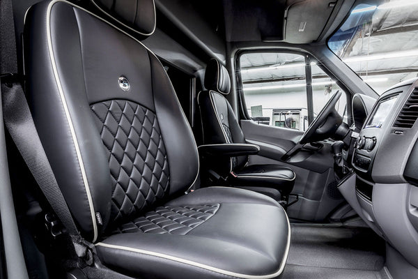 Sprinter Addons | Driver Zone | Fronts Seats Reupholstered | Custom Interior | Bespoke Coach Mercedes Benz Sprinter Van Conversion | Sprinter Accessories | Sprinter Upgrades | Sprinter Add Ons | Camper Van | Adventure Van