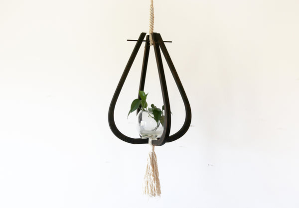 Wood and Macrame Hanging Planter