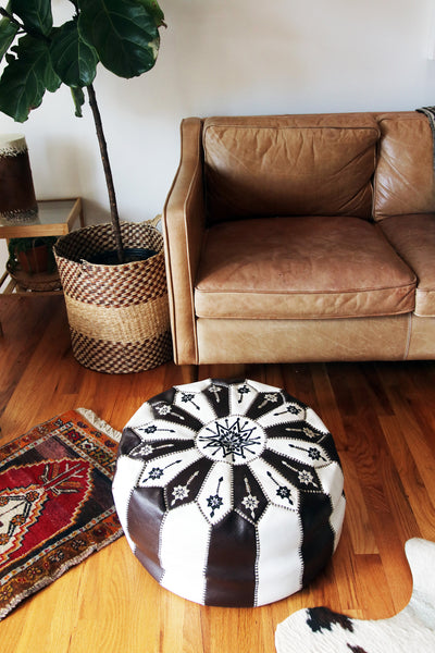 Vintage Leather Pouf || Moroccan Leather Floor Cushion || Ottoman || Stool || Arrives Stuffed