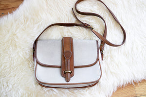 Vintage White and Brown Dooney and Bourke Purse || Crossbody Bag || Leather Purse || Designer Purse