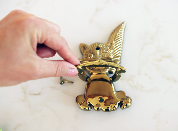 Vintage Cat Gold-toned Door Knocker