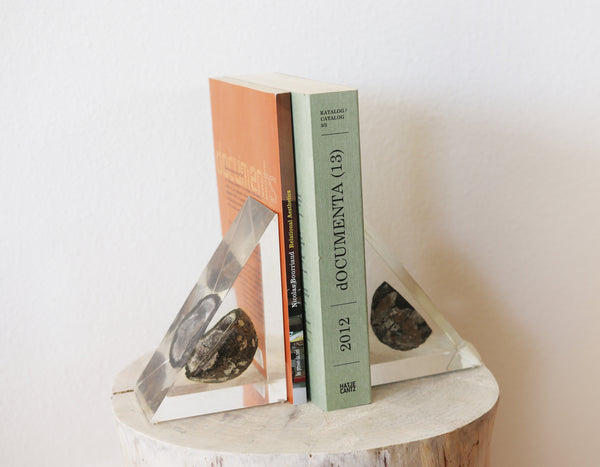 Vintage Lucite Geode Bookends || Clear Float