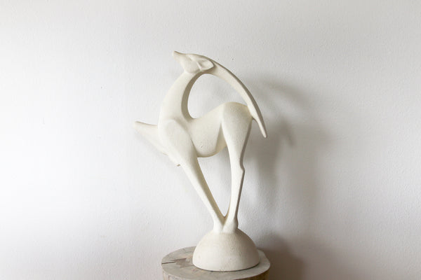 Vintage Art Deco Textured Haeger Gazelle || Large Ceramic Sculpture