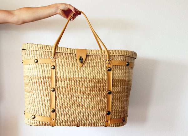 Vintage Wicker Overnight Bag || Suitcase || Carryon