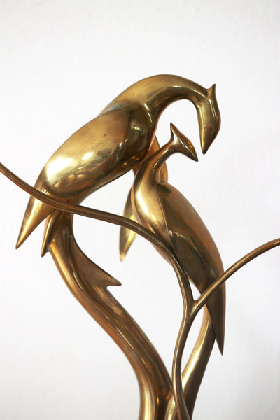Vintage Large Solid Brass Bird Sculpture