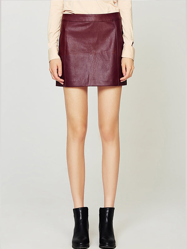 PU Leather Skirt, High Waist Back Zipper Mini A Line Skirt
