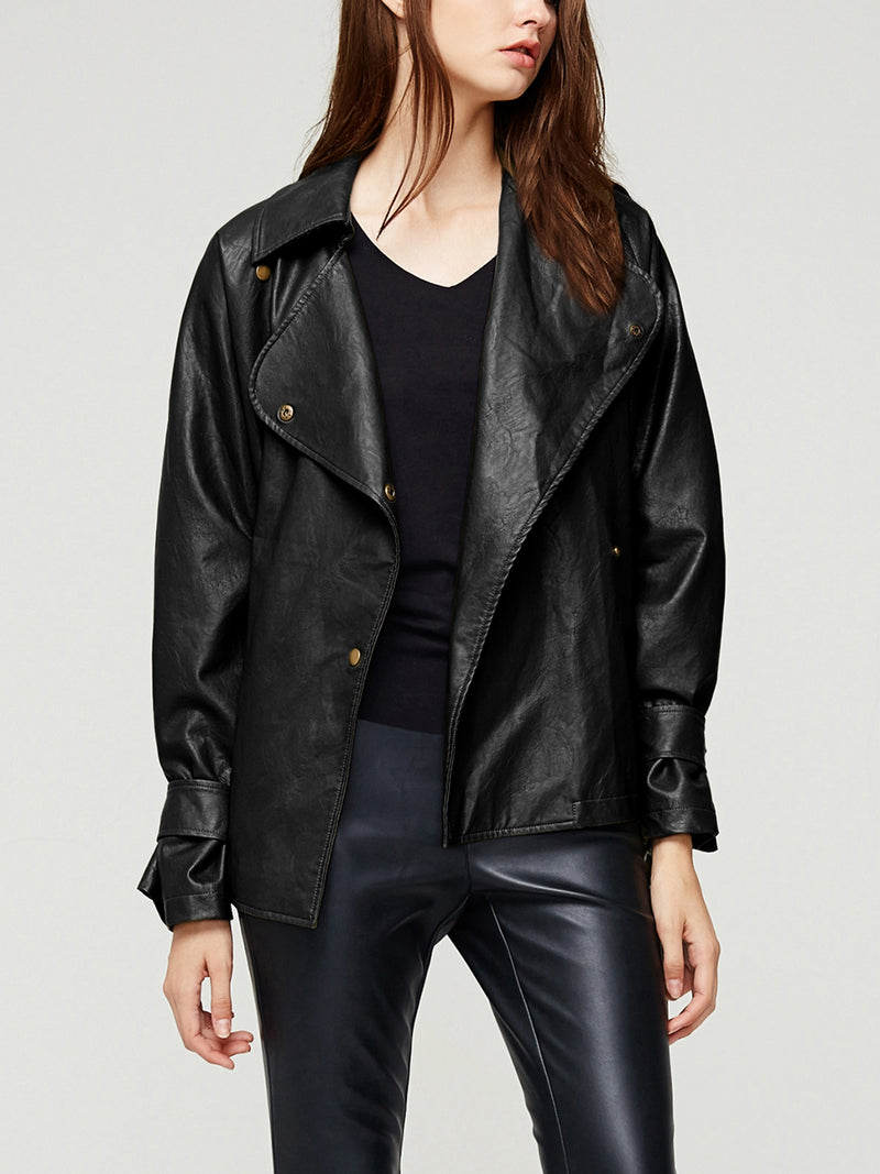 Faux Leather Short Jacket, Moto Coat with Belt