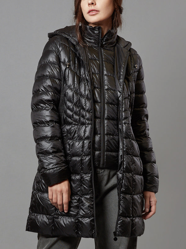 Down Jacket Hooded Fur Puffer, with Removable Bib