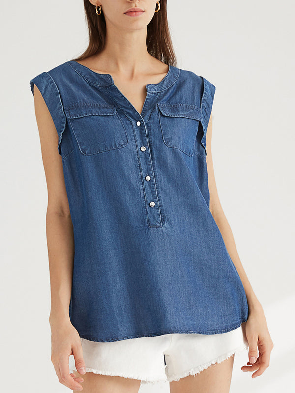 Women's Denim Shirt, Tencel V-Neck Jean Shirt Blouse