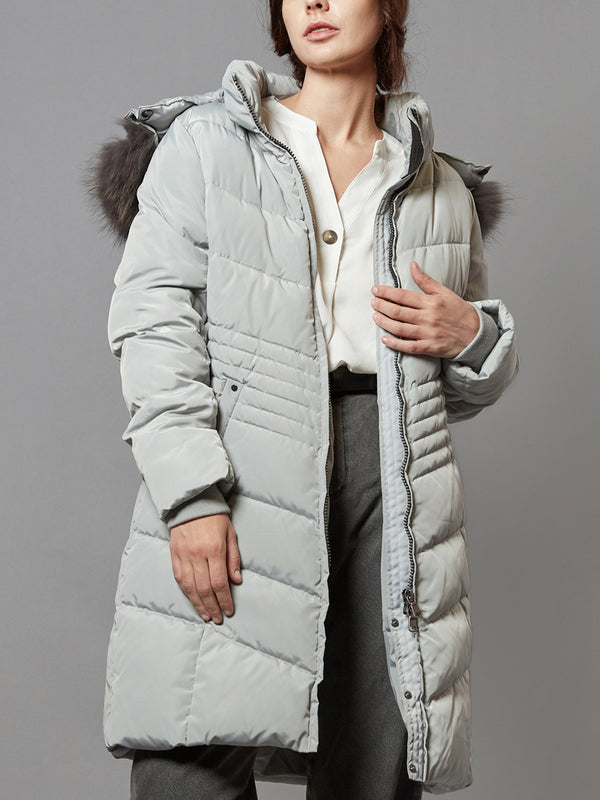 Down Jacket, Long Parka Coat, with Raccoon Fur Hooded