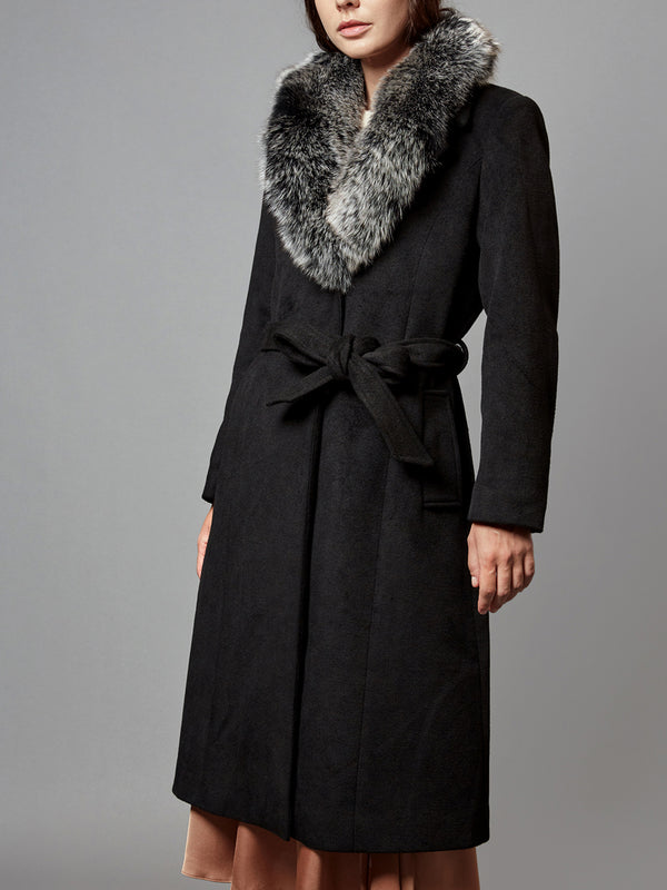 Wool  Long Trench, Real Fox Fur Collar