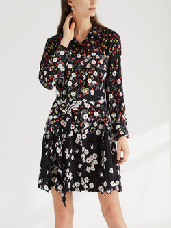 Silk Boho Floral Short Shirt Dress, Midi Dress