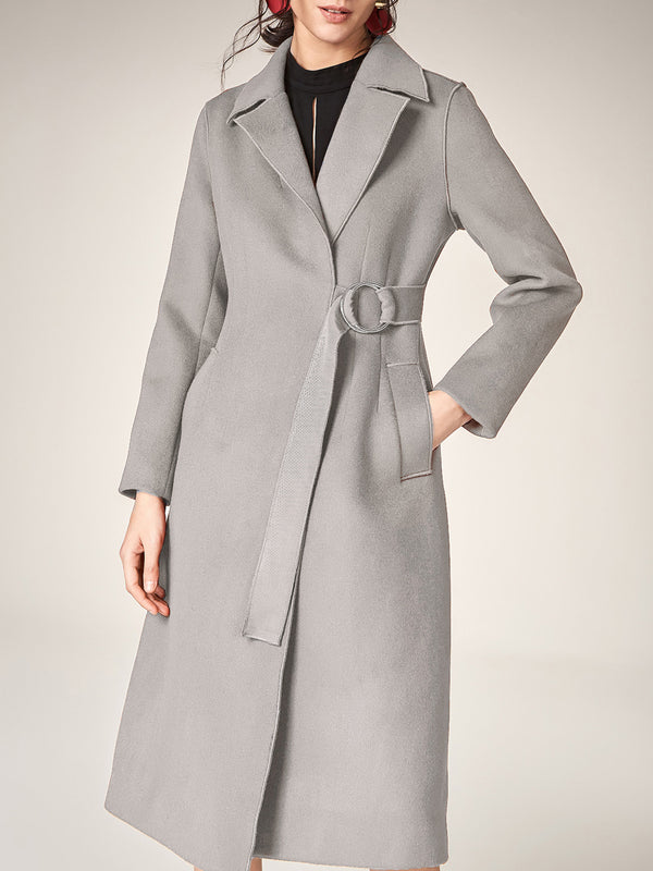 Long Wool Notched Lapel Coat,  Cardigan Trench Overcoat with Ribbon