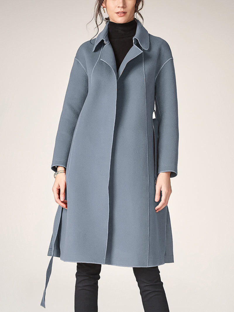 Long Wool Trench Coat, Tunic Lapel Cardigan Overcoat, with Waist Belted