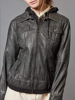 Women's Faux Leather Jacket, Moto Biker Jacket with Hoodie