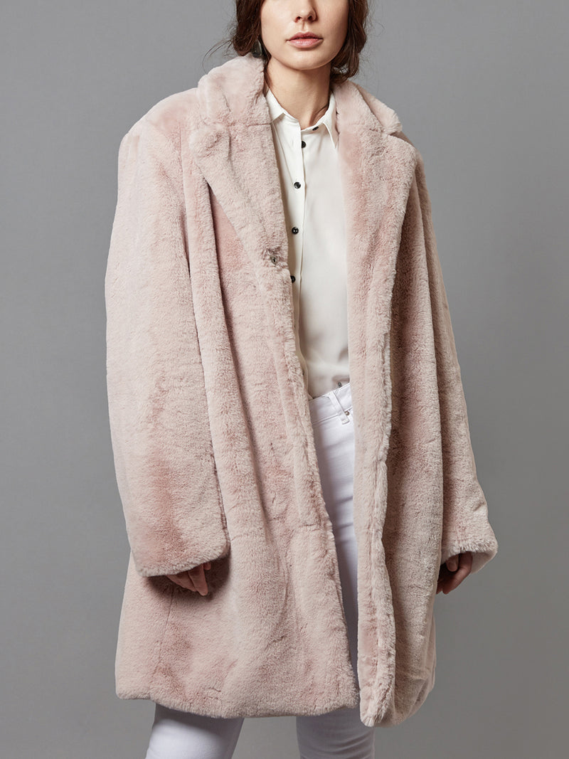 Faux Fur Coat, Long Trench with Pocket