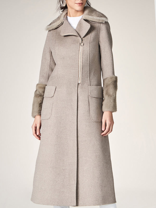 Long Wool Trench, Lapel Cardigan Overcoat