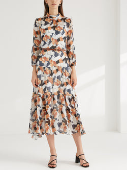 Floral Printed Maxi Dress, with PU Belt