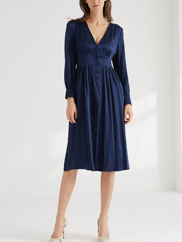 100% Silk Long Sleeve Midi Dress, Deep V Neck, Button Up