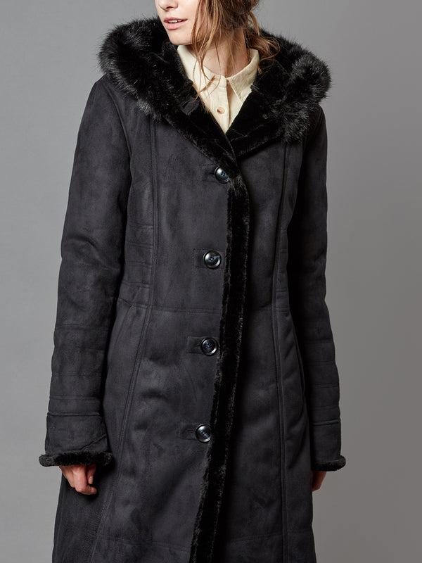 Faux Suede Coat, with Hooded