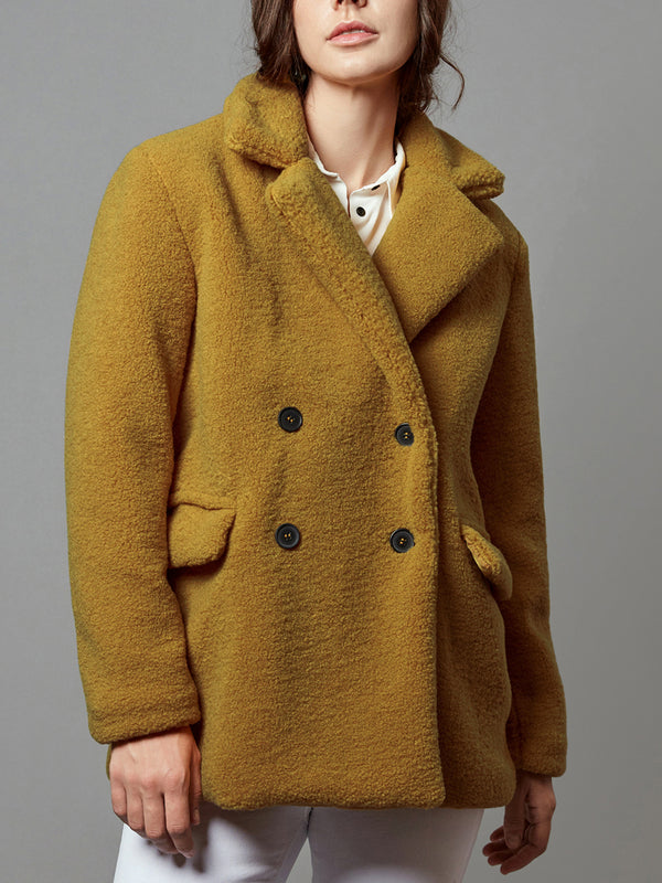 Faux Shearling Coat, Lapel Fluffy Fur Outwear