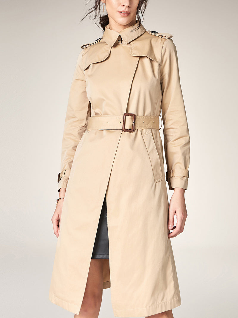 Lightweight Trench, Long Wrapped Coat with Belt