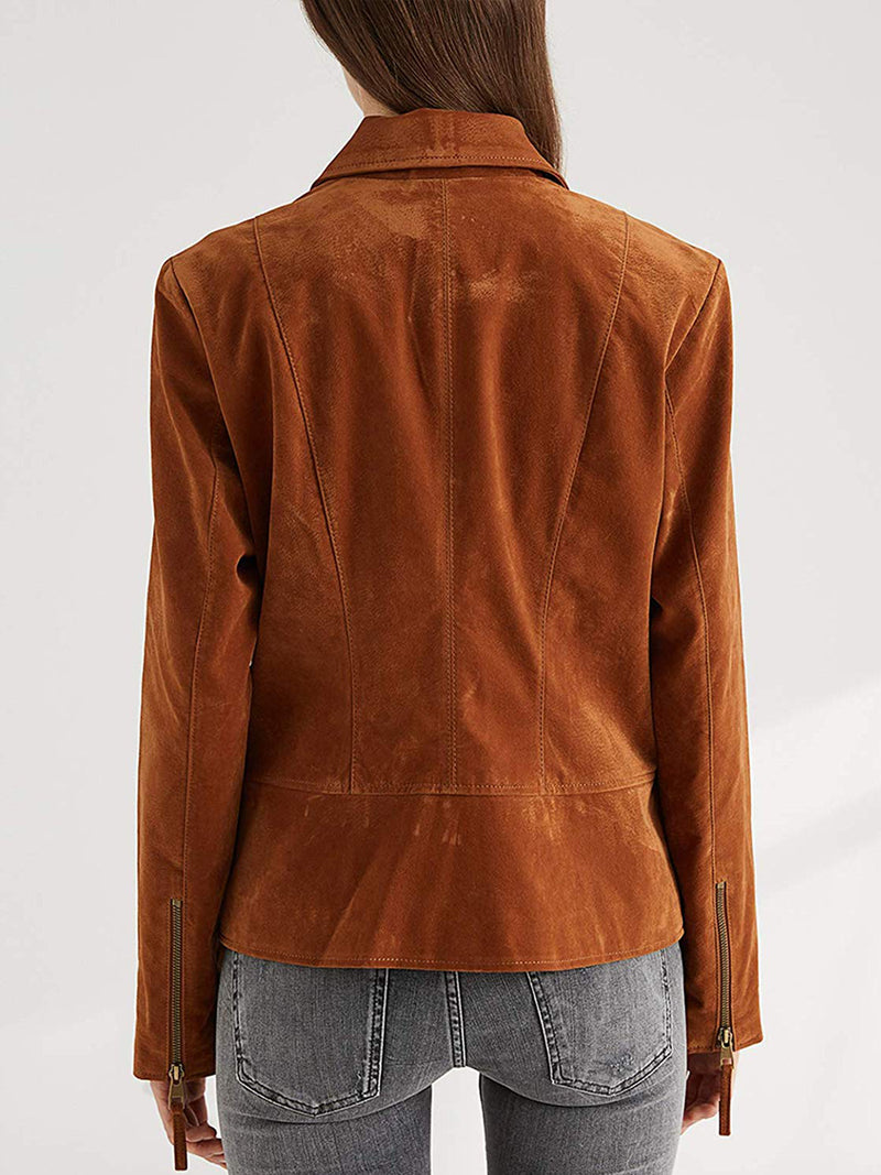 Suede Moto Biker Jacket Faux Leather Coat with Convertible Collar and Pockets