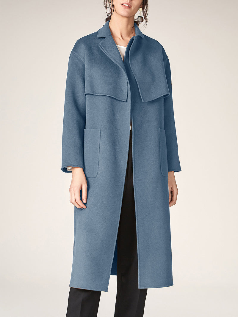 Wool Coat, Long Wrapped Trench with Belts