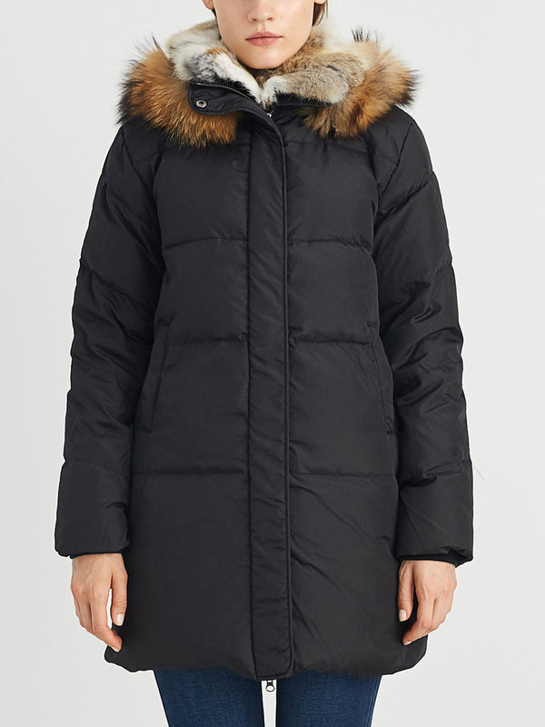 Down Coat ,  with Real Raccoon Fur Hooded , Parka Jacket