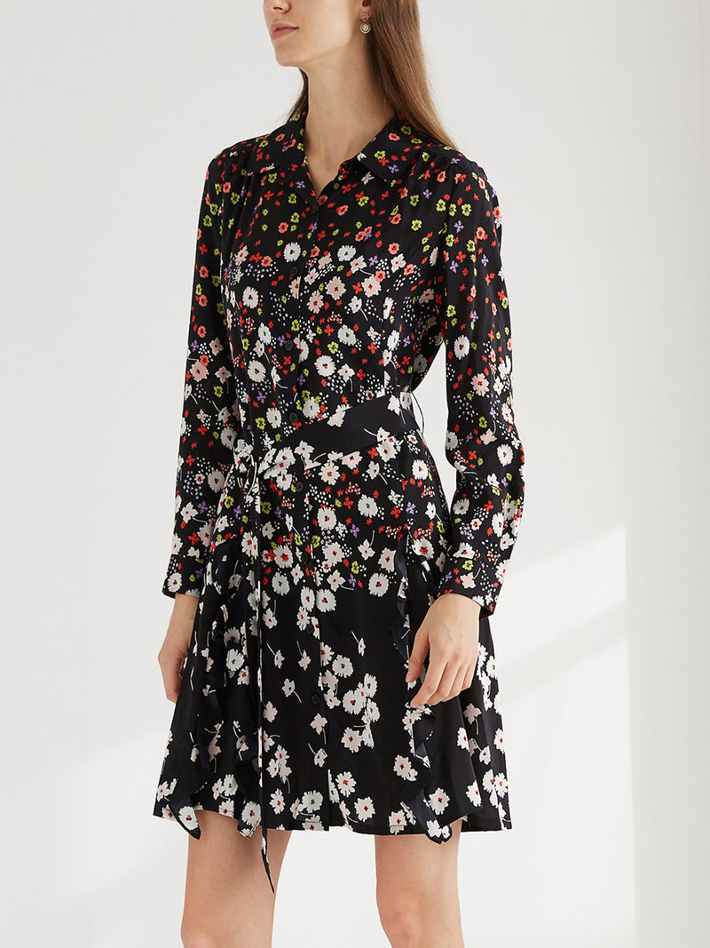 Silk Boho Floral Short Dress