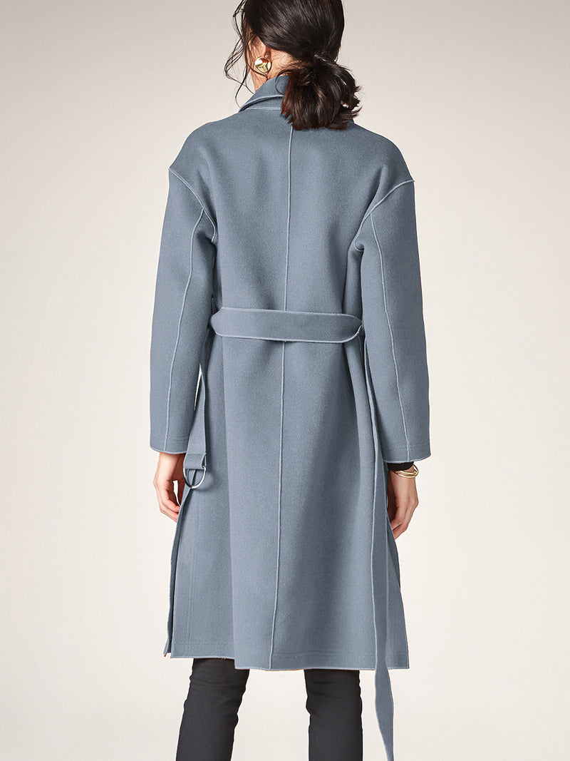 Lapel Collar 100% Wool Coat