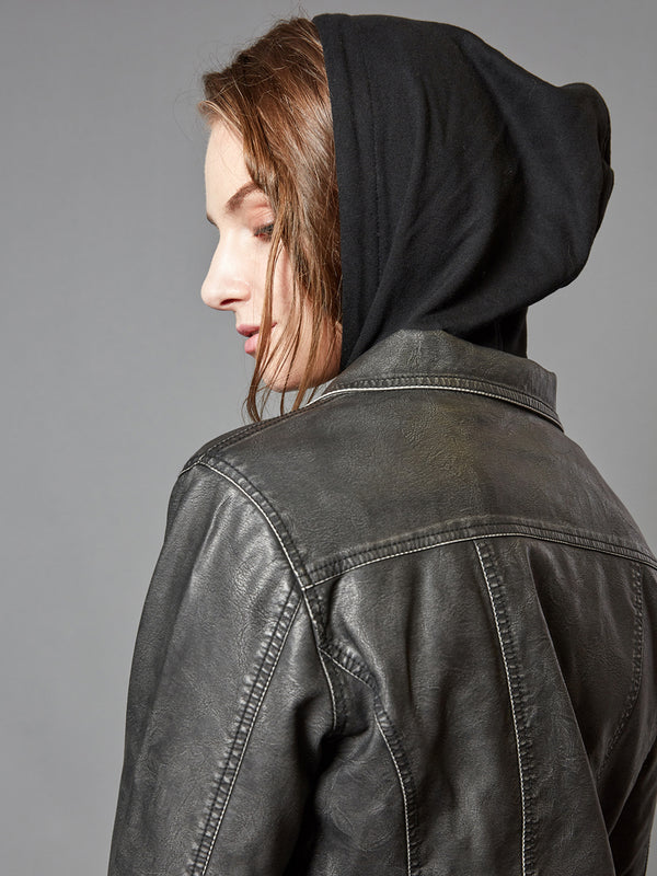 Escalier Faux Leather Jacket with Hoodie