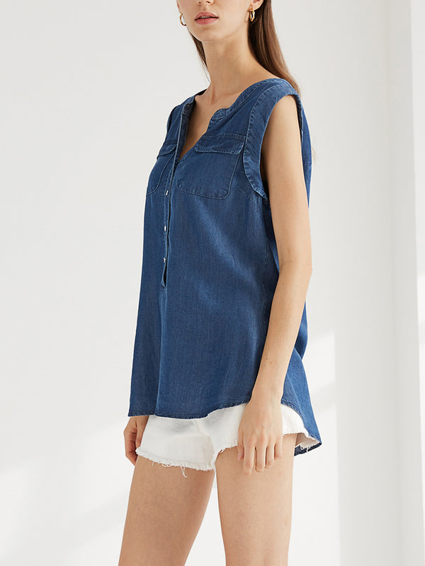 Casual V-Neck Button Down Blouse with Cuffed Cap Sleeve Shirt