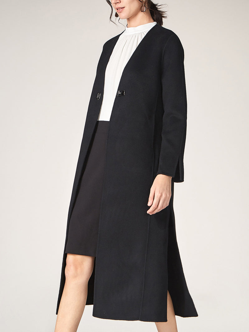 Winter 100% Wool Long Black Coat
