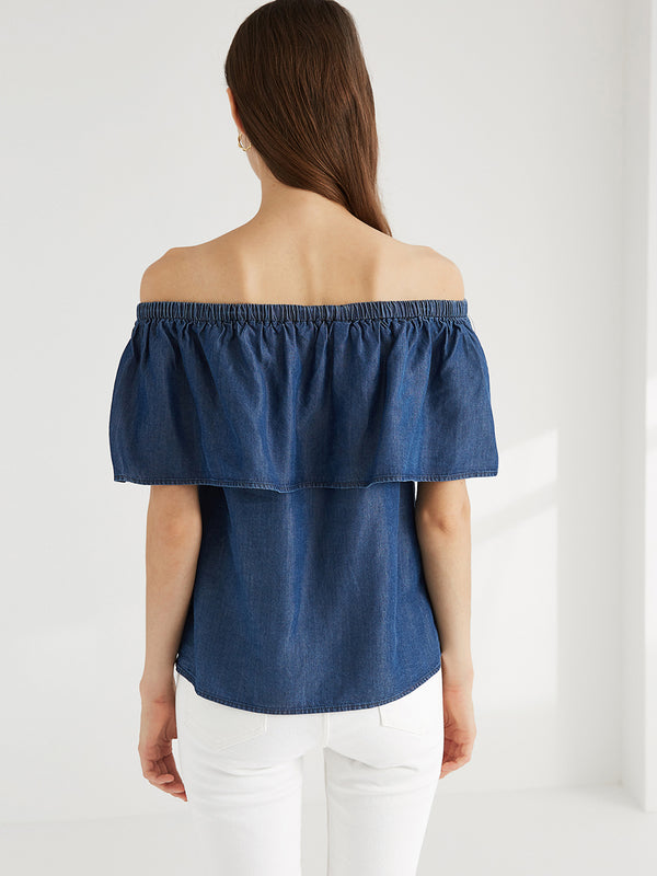 Tencel Off Shoulder Blouse