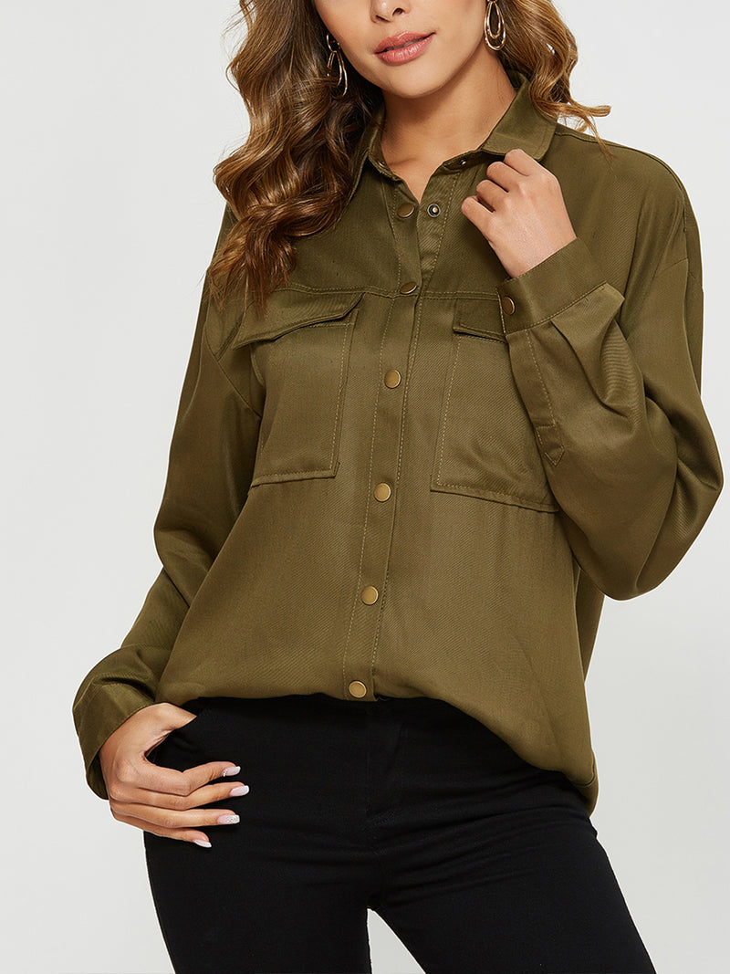 Escalier Women's Button-Down Shirt Long Sleeve Casual Blouse Oversized Shirts with Pocket