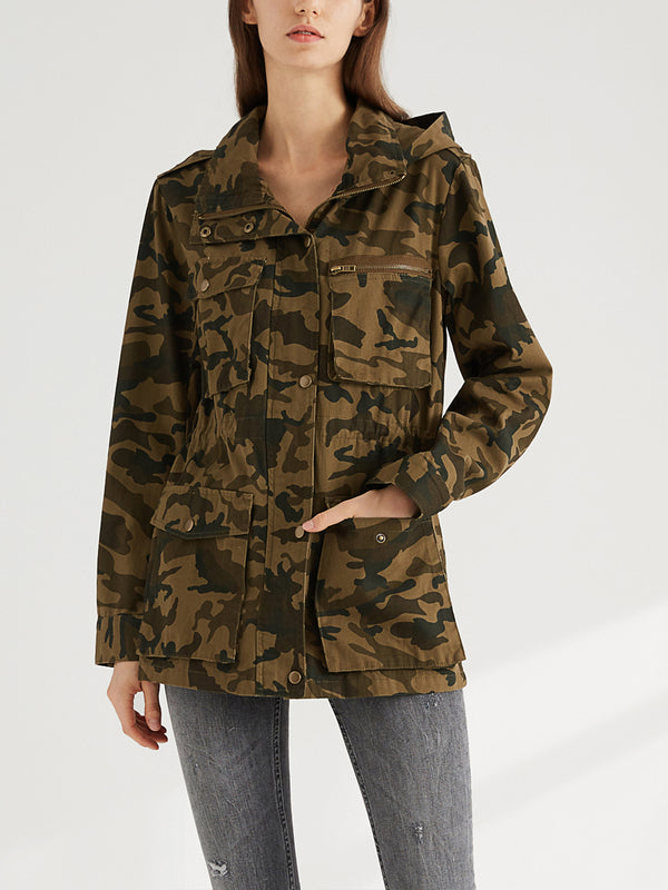 Escalier Women's Anorak Jacket Lightweight Drawstring Hooded Military Parka Coat