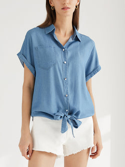 Casual Tie Front Top Cuffed Cap Sleeve Knotted Shirt